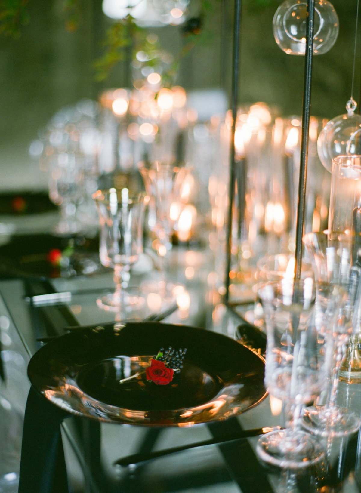black and glass wedding table place setting