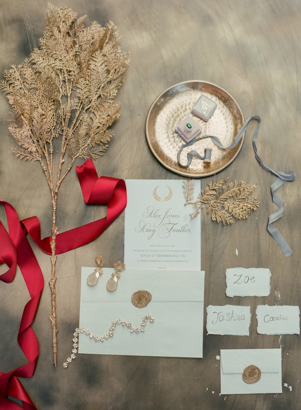 gold winter wedding invitation