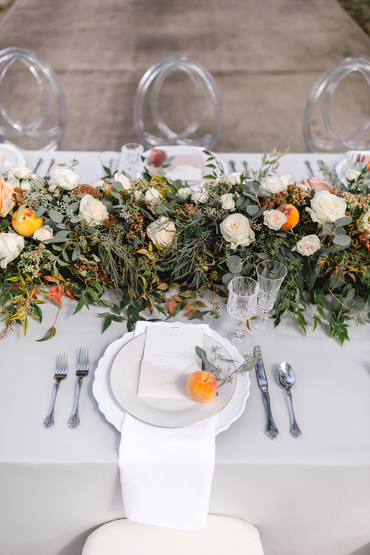 beach and fall color wedding table