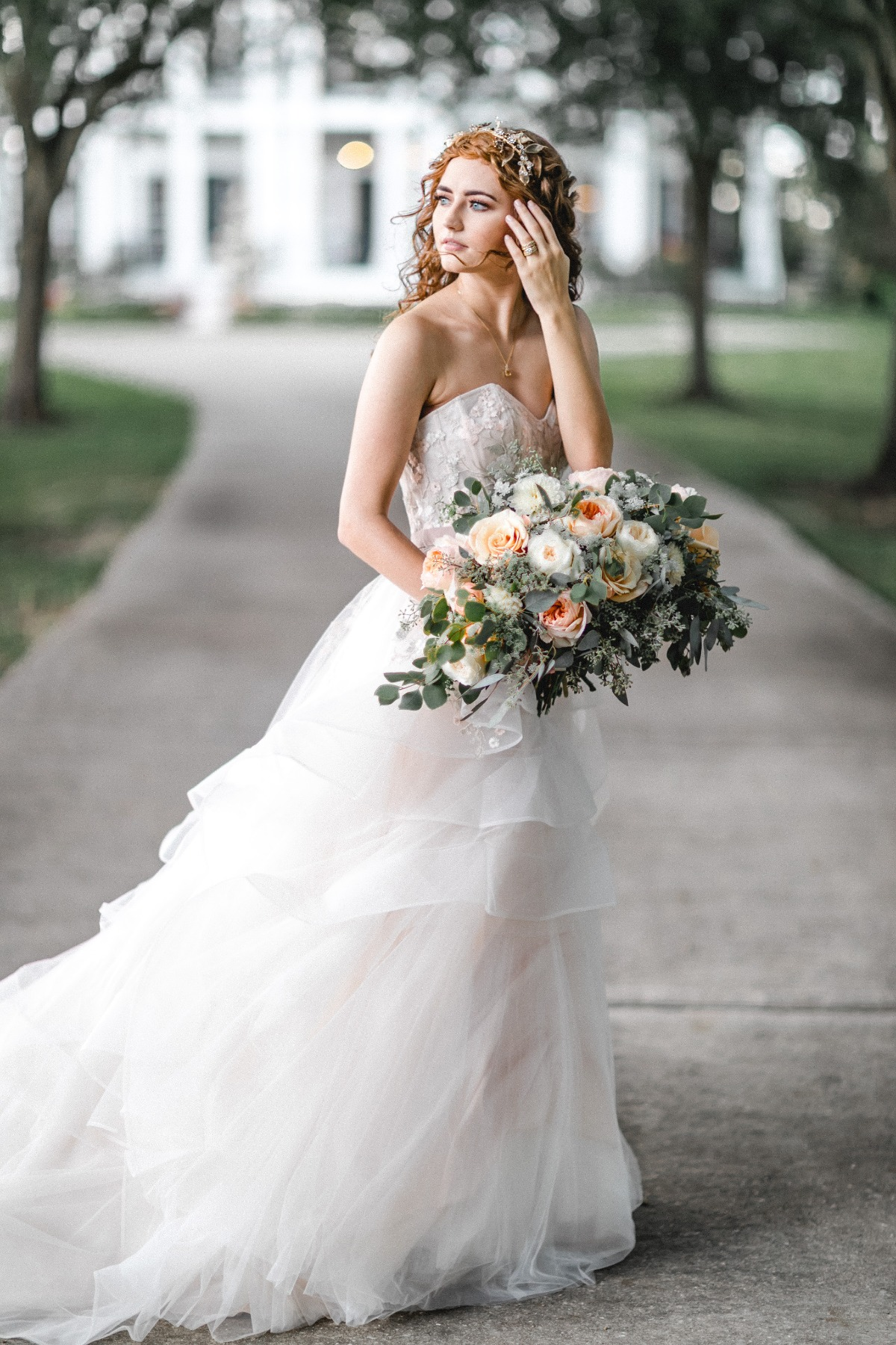 simple and sweet bride in WTOO by Watters dress