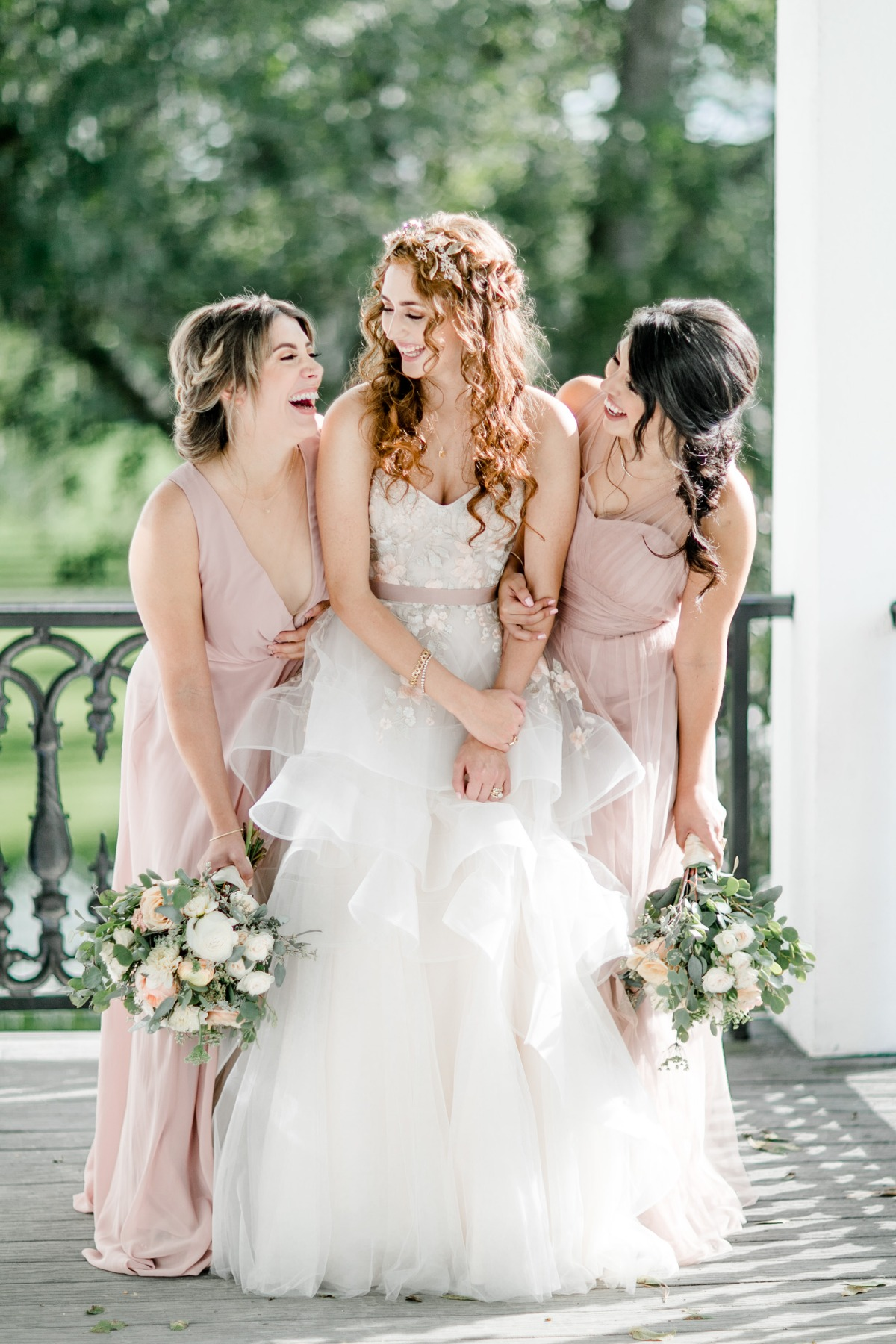 sweet bride and bridesmaids in dusty rose