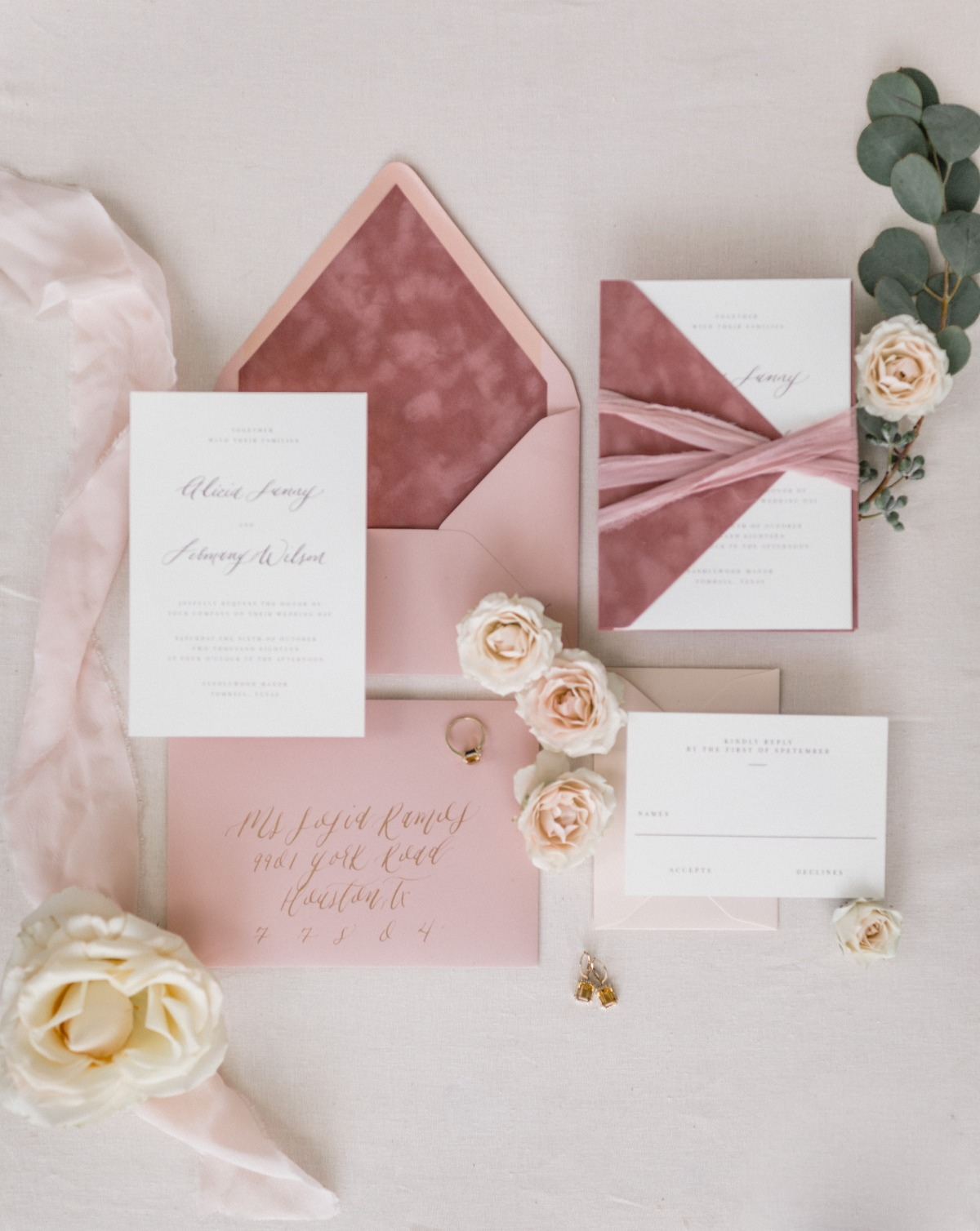 dusty rose wedding invitation suite