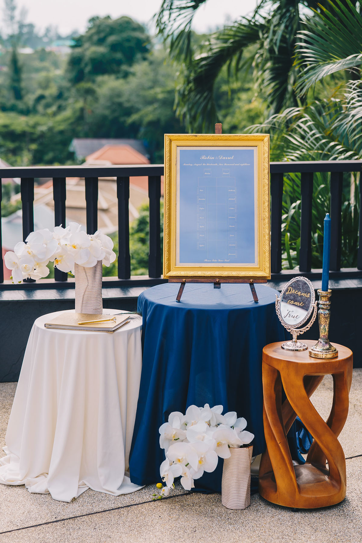 Seating chart in gold frame