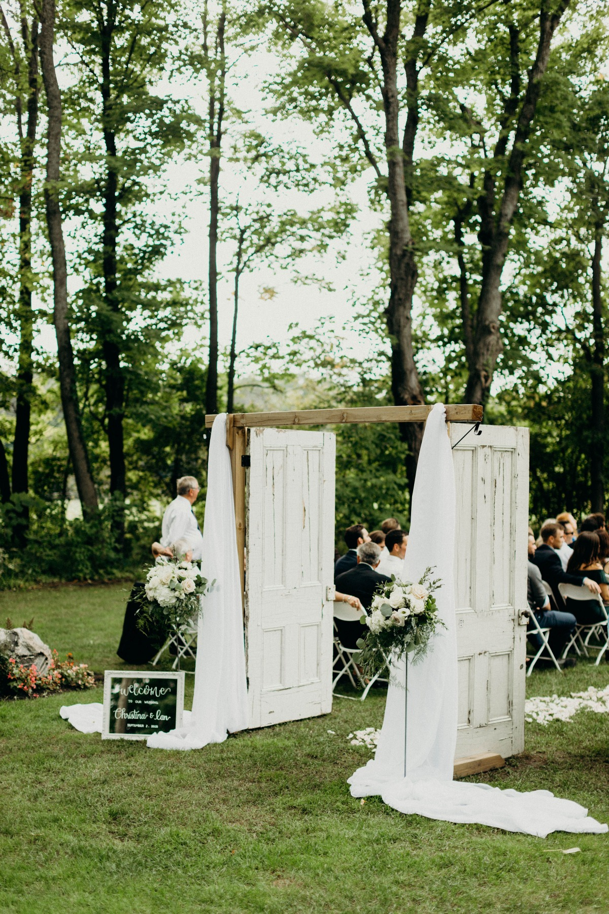 rustic door wedding ceremony entrance