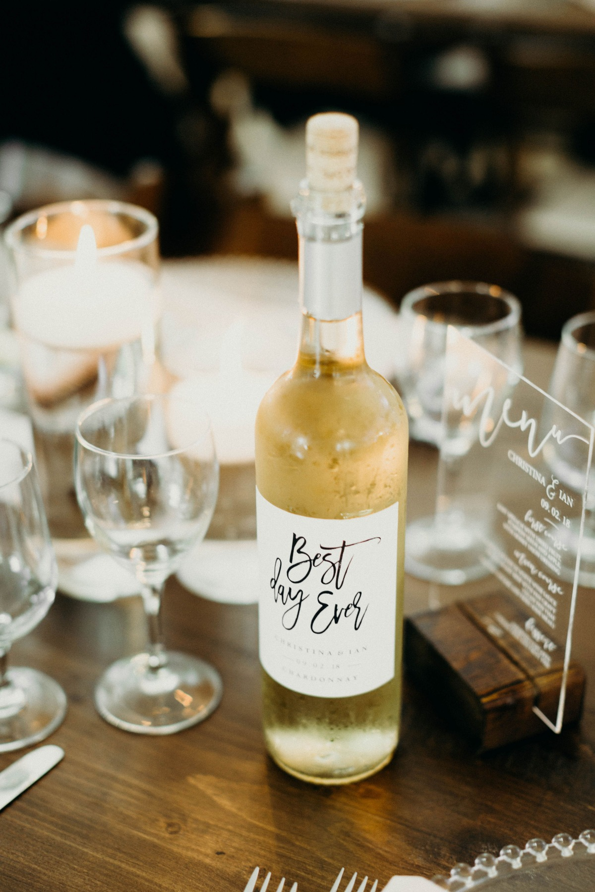 best day ever wedding wine