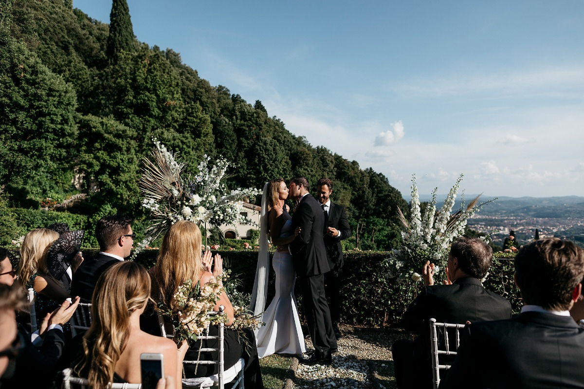 Rose garden ceremony with a view