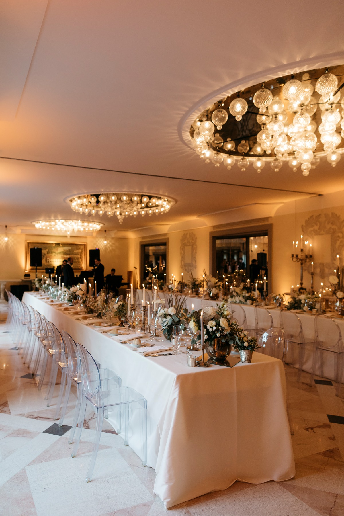 Luxurious candle lit reception in Italy