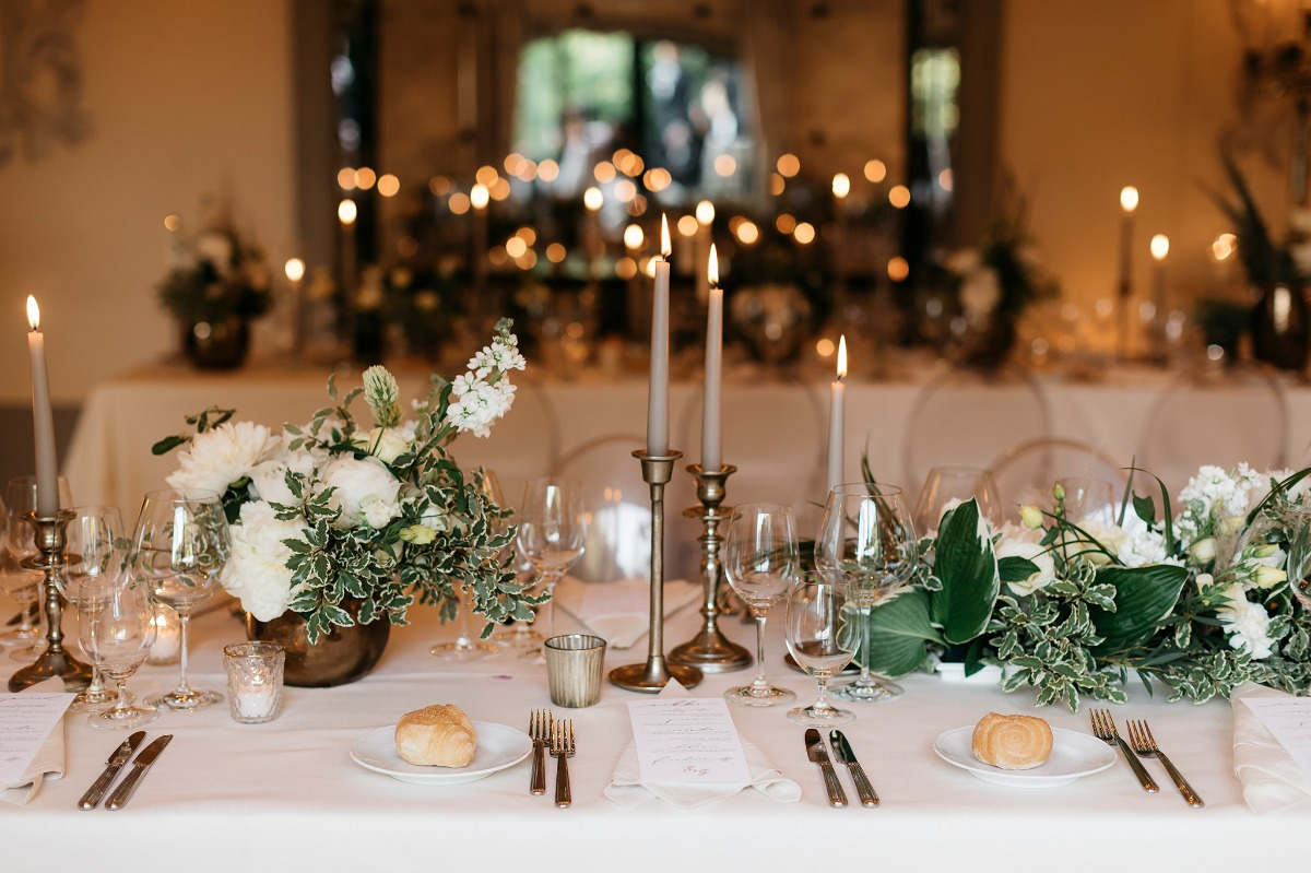 Romantic candle light reception