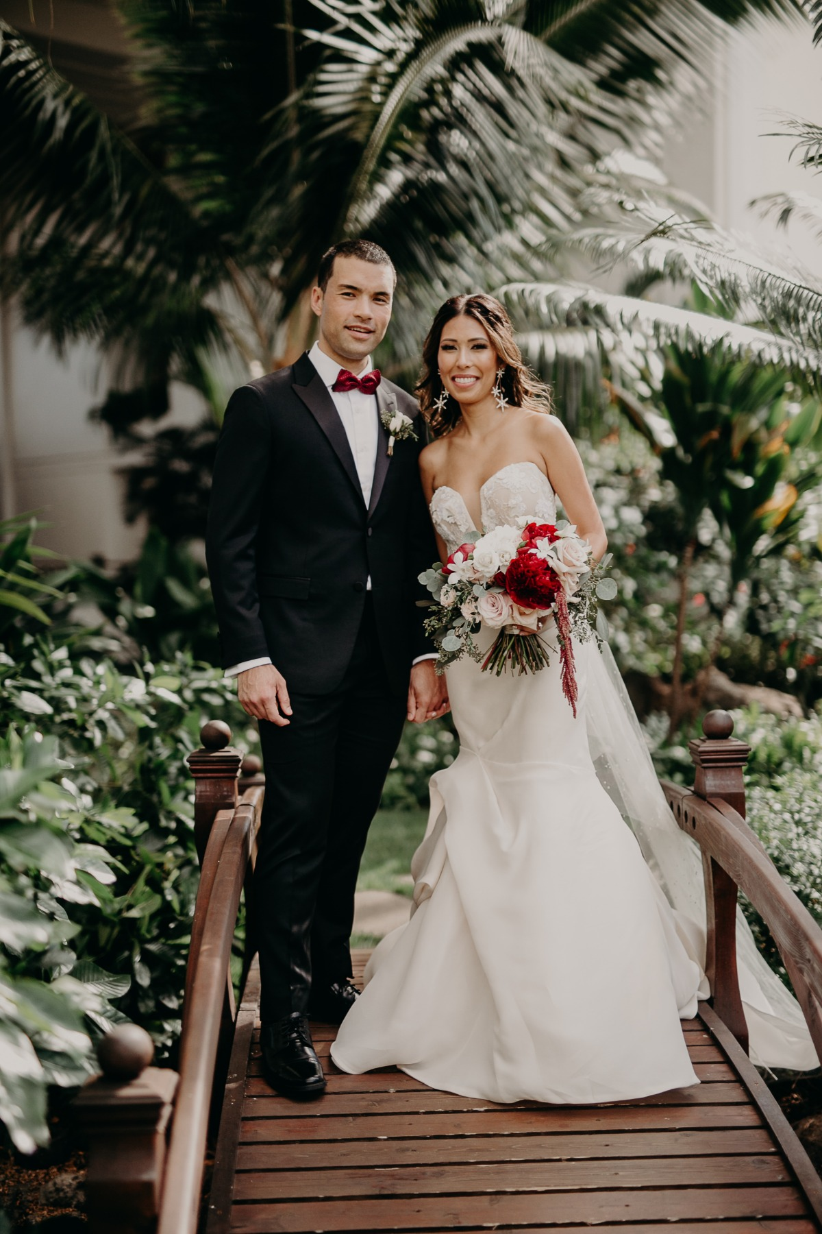 formal Hawaii wedding couple