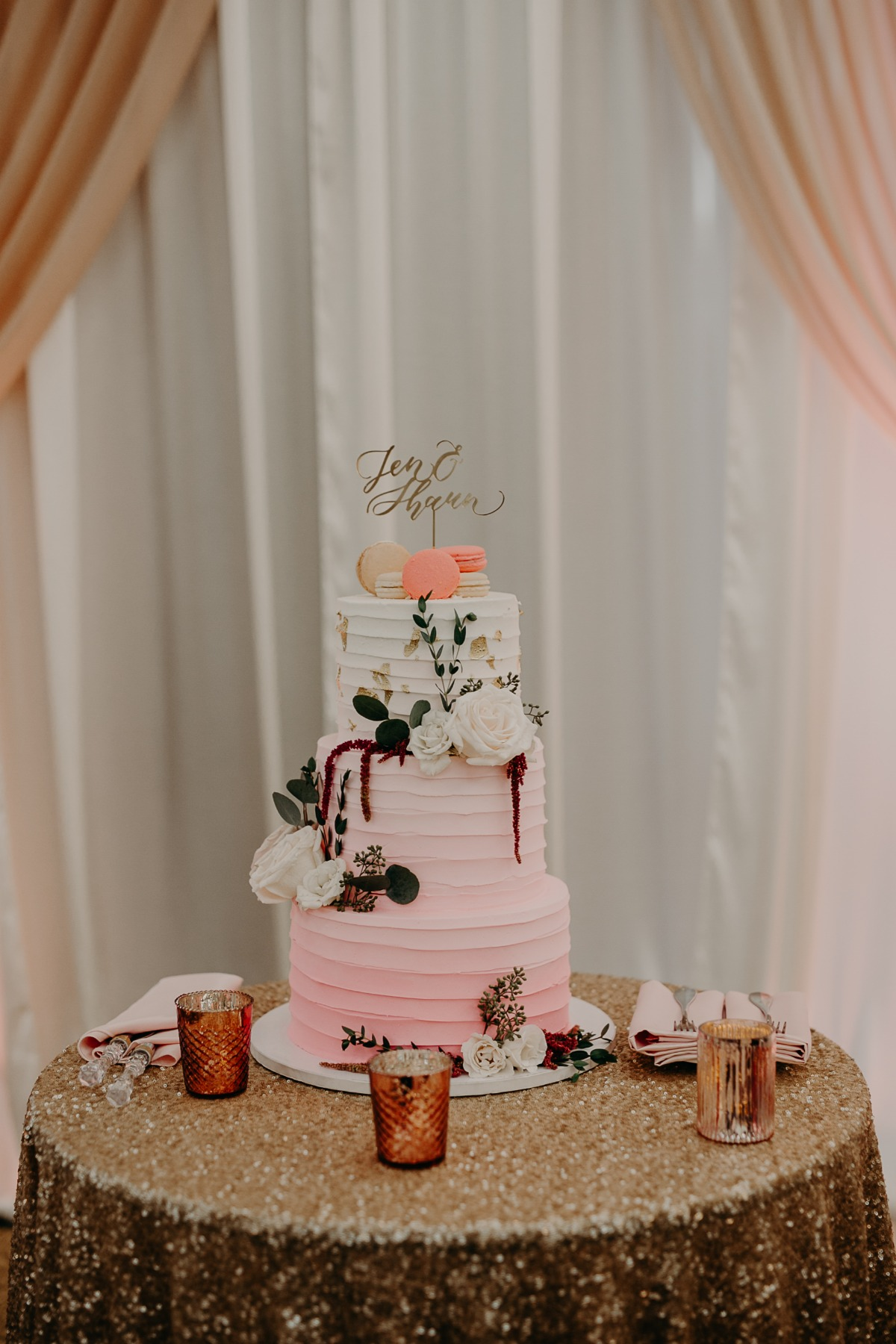 ombre blush wedding cake