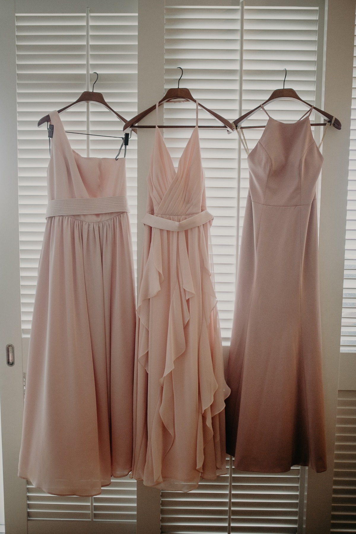 bridesmaids dress in blush