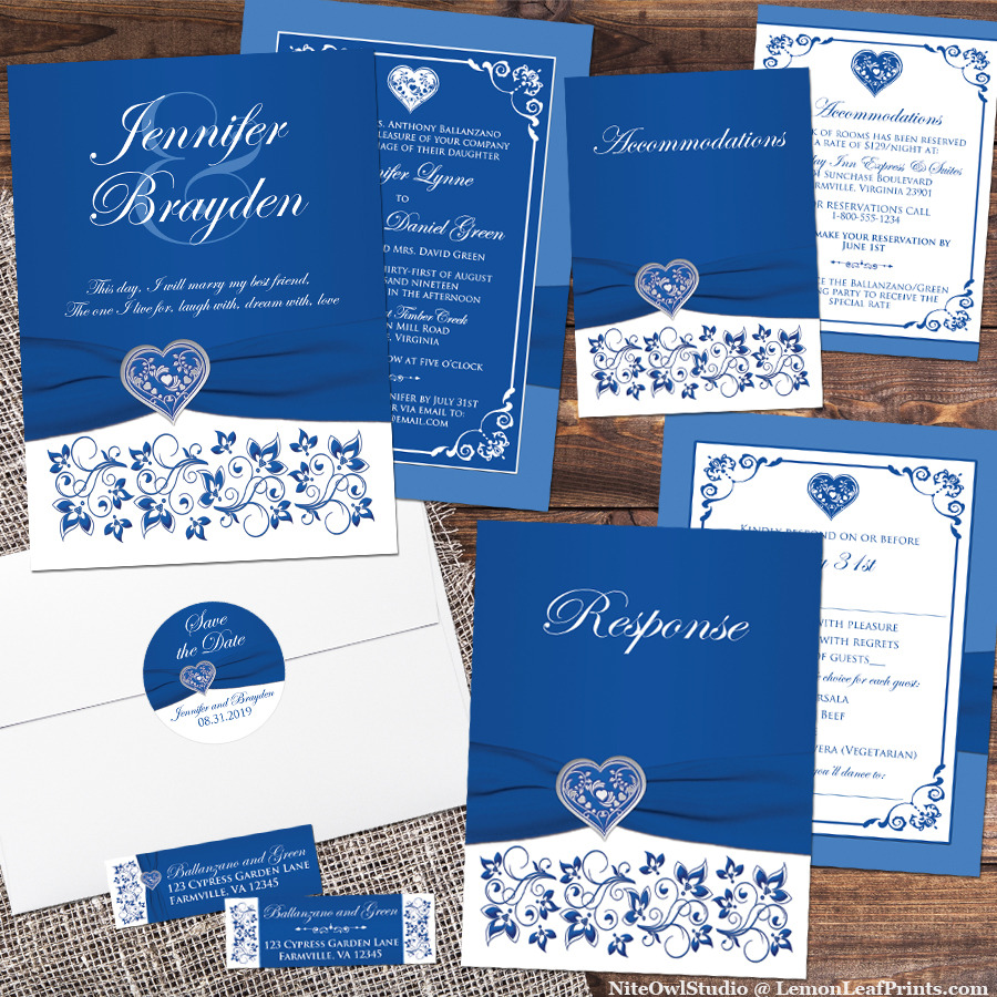 If royal blue and white will be your wedding color scheme, then this romantic royal blue and white wedding invitation may be just what