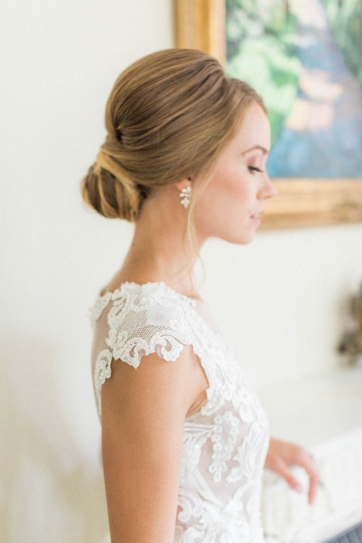 simple and elegant bridal updo ballerina inspired