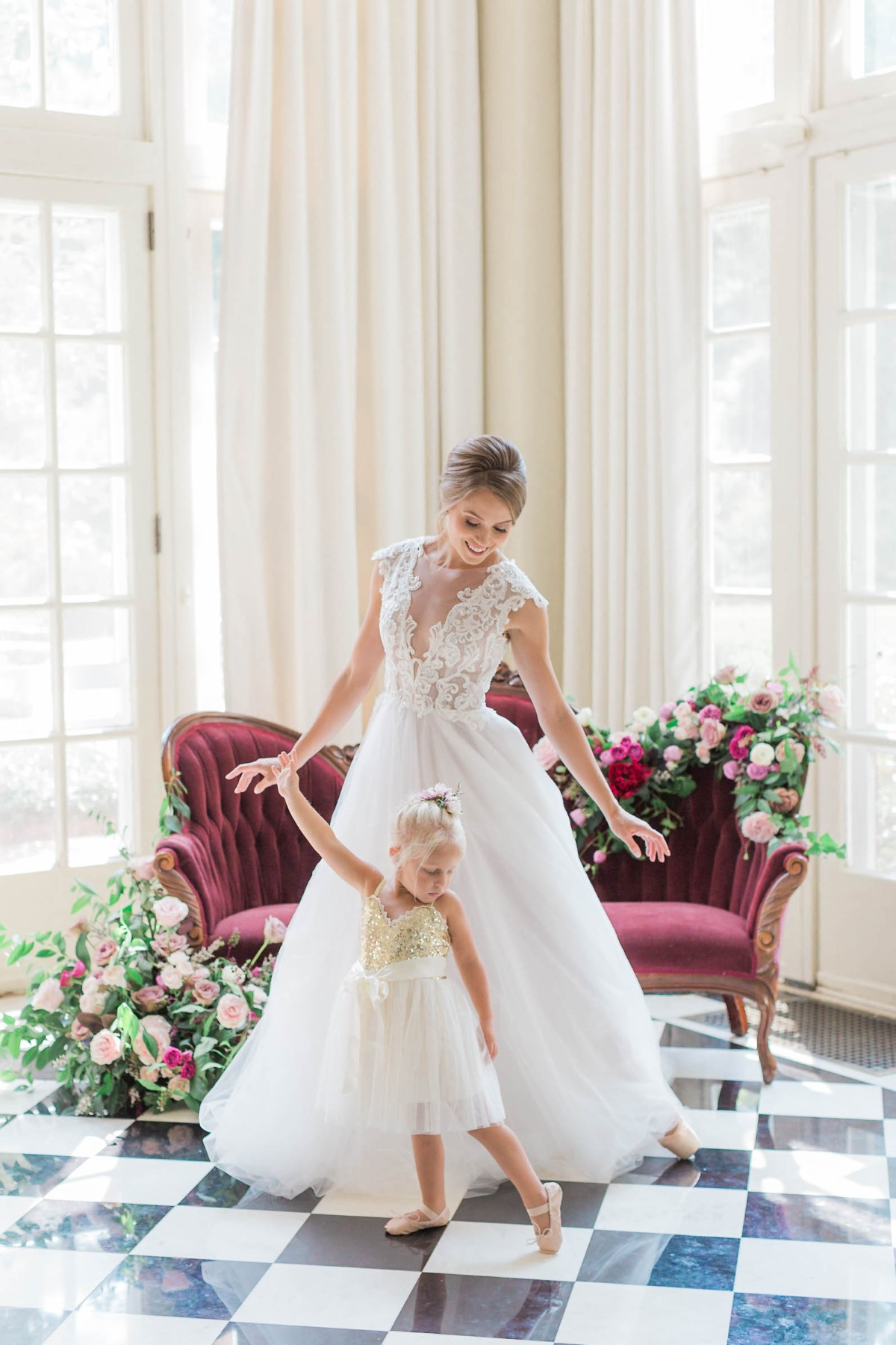 ballet bride and flower girl