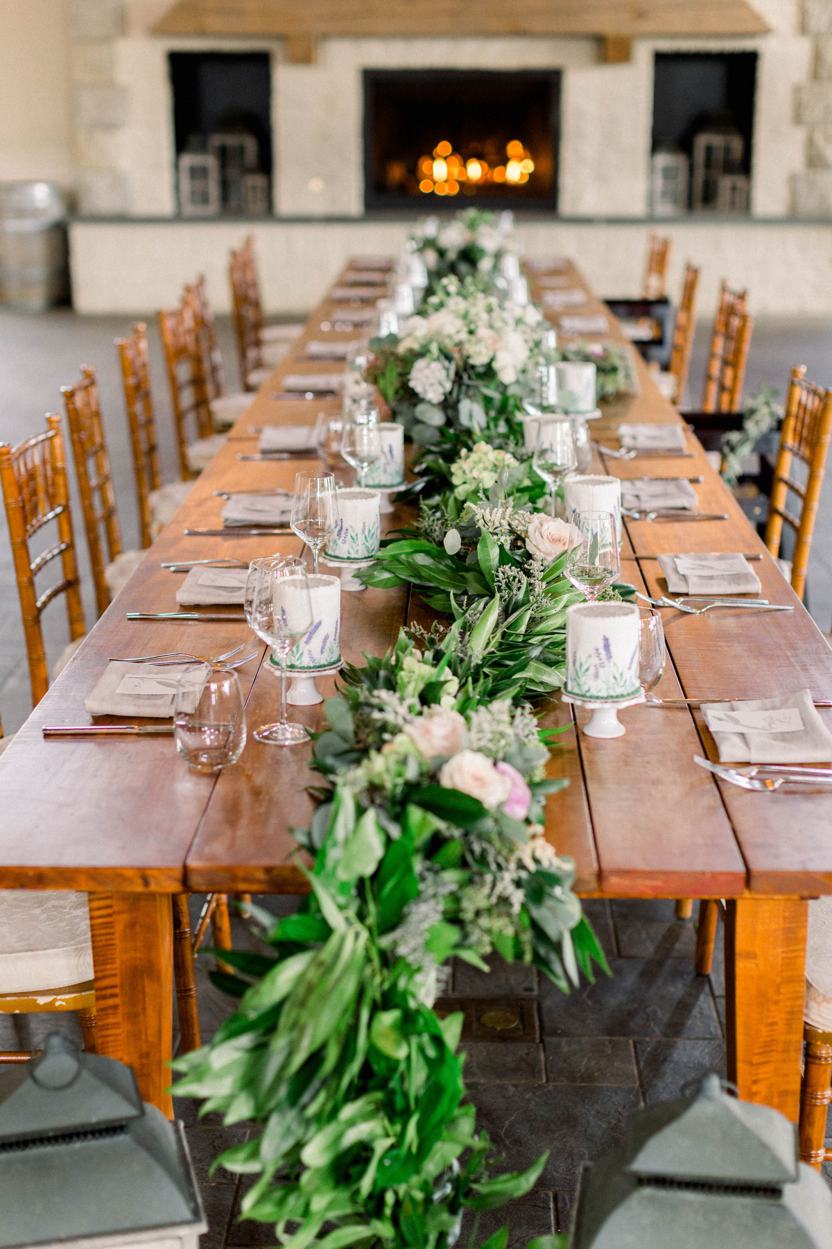 Greenery and floral centerpiece