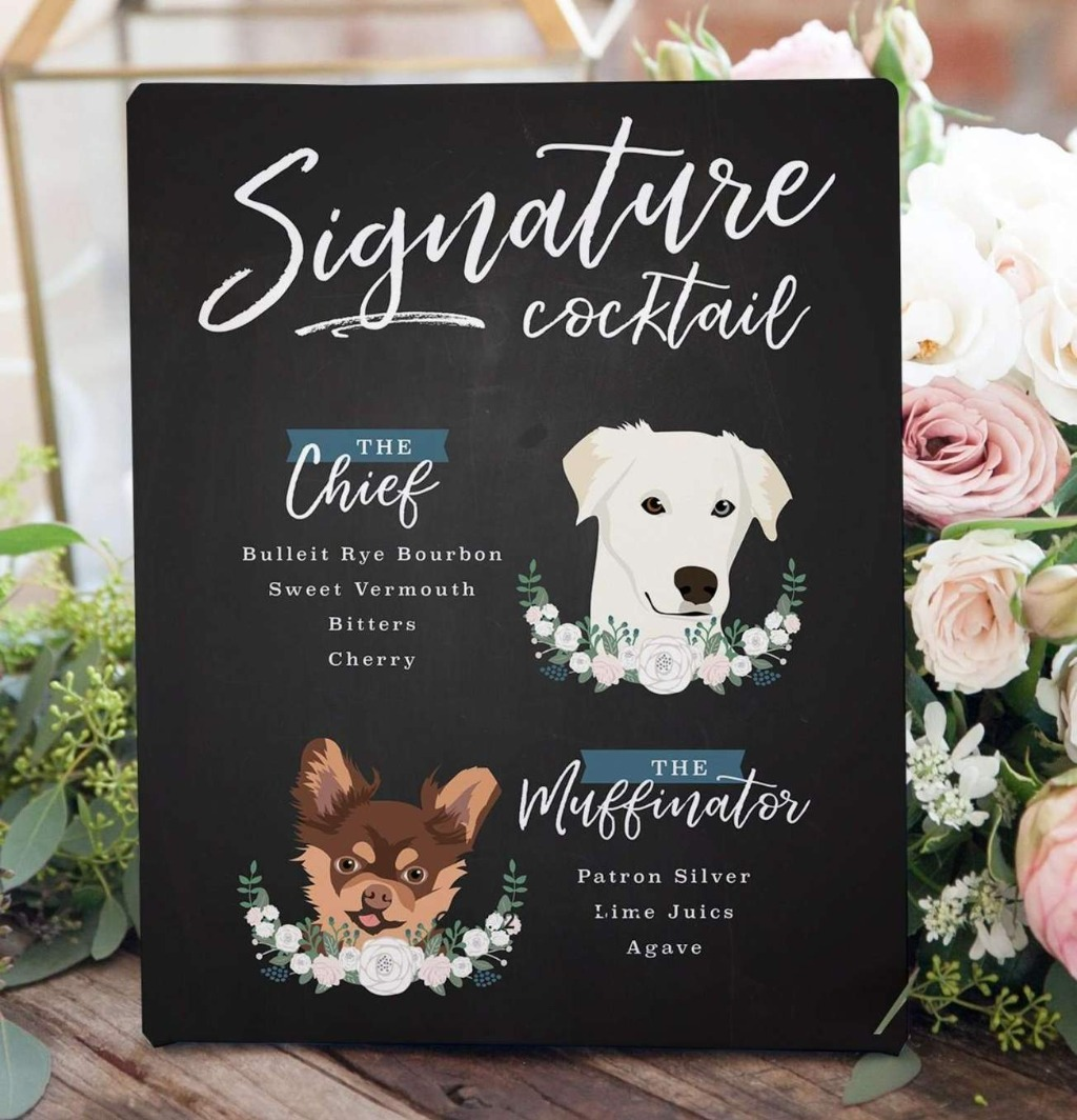 This wonderful Chalkboard Signature Cocktail Sign with Two Pet Portraits is perfect for the couple who want to include their pets on
