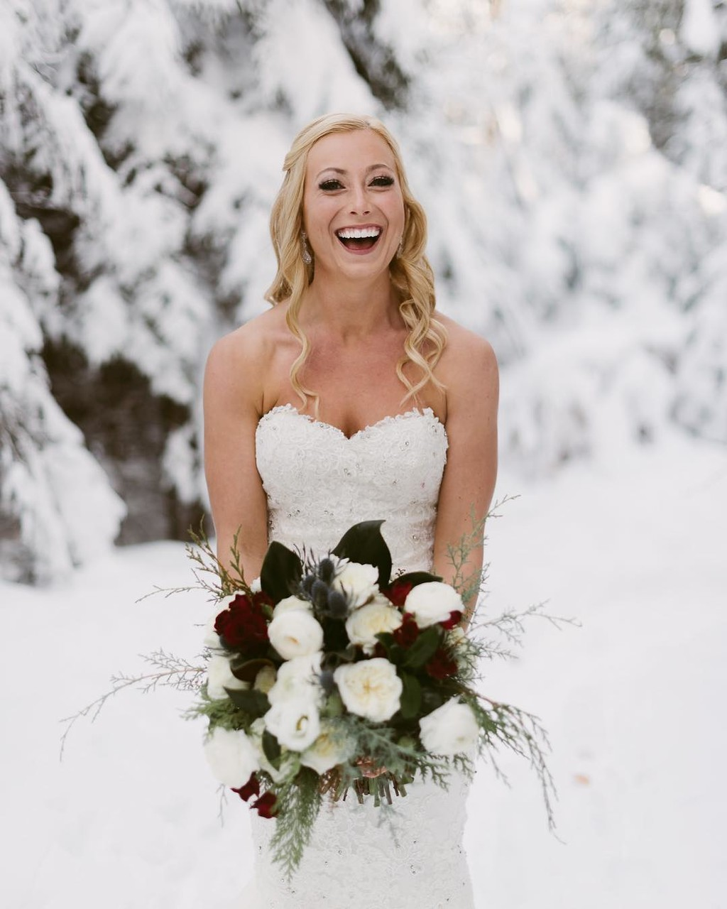 Luxurious Winter Lake Placid Bride •