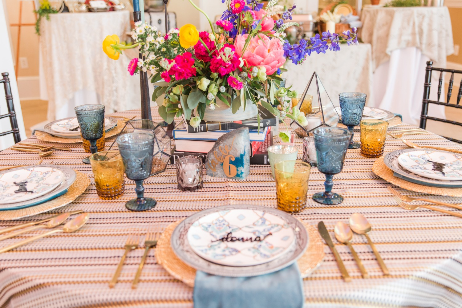 fun boho style gold and blue wedding table