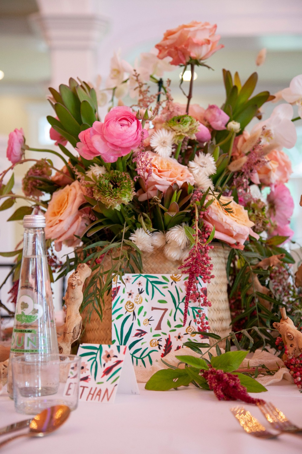 tropical pink and peach beach table centerpiece