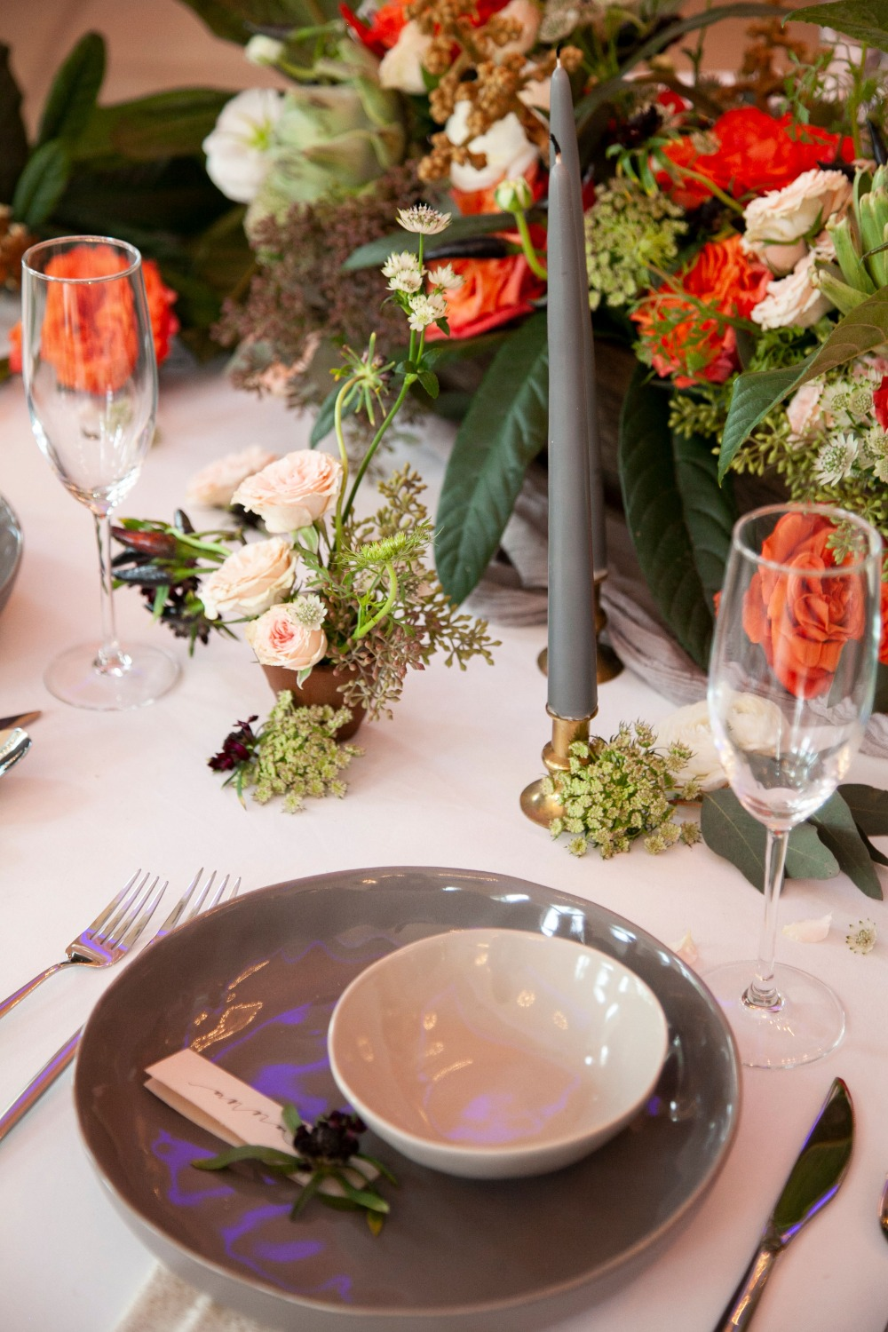 grey and light grey place setting