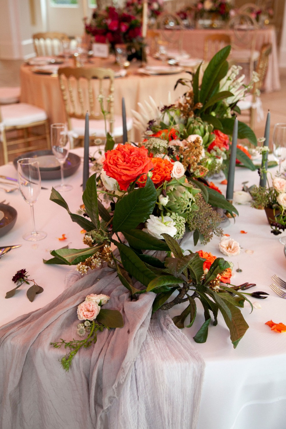 tropical orange and green centerpiece