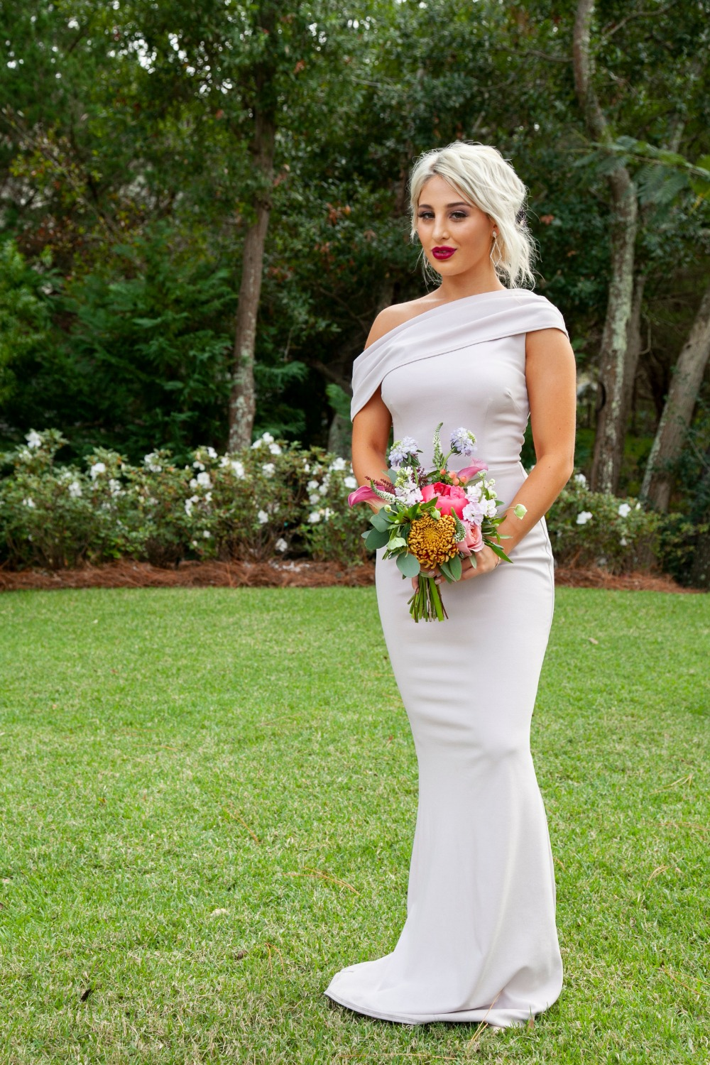 bridesmaid in off the shoulder dress