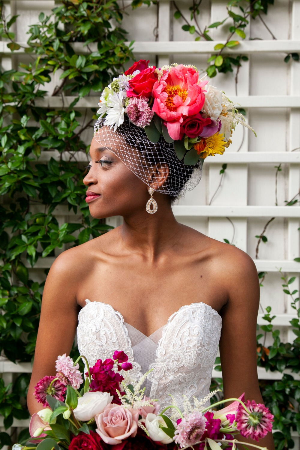 glam retro chic floral headpiece