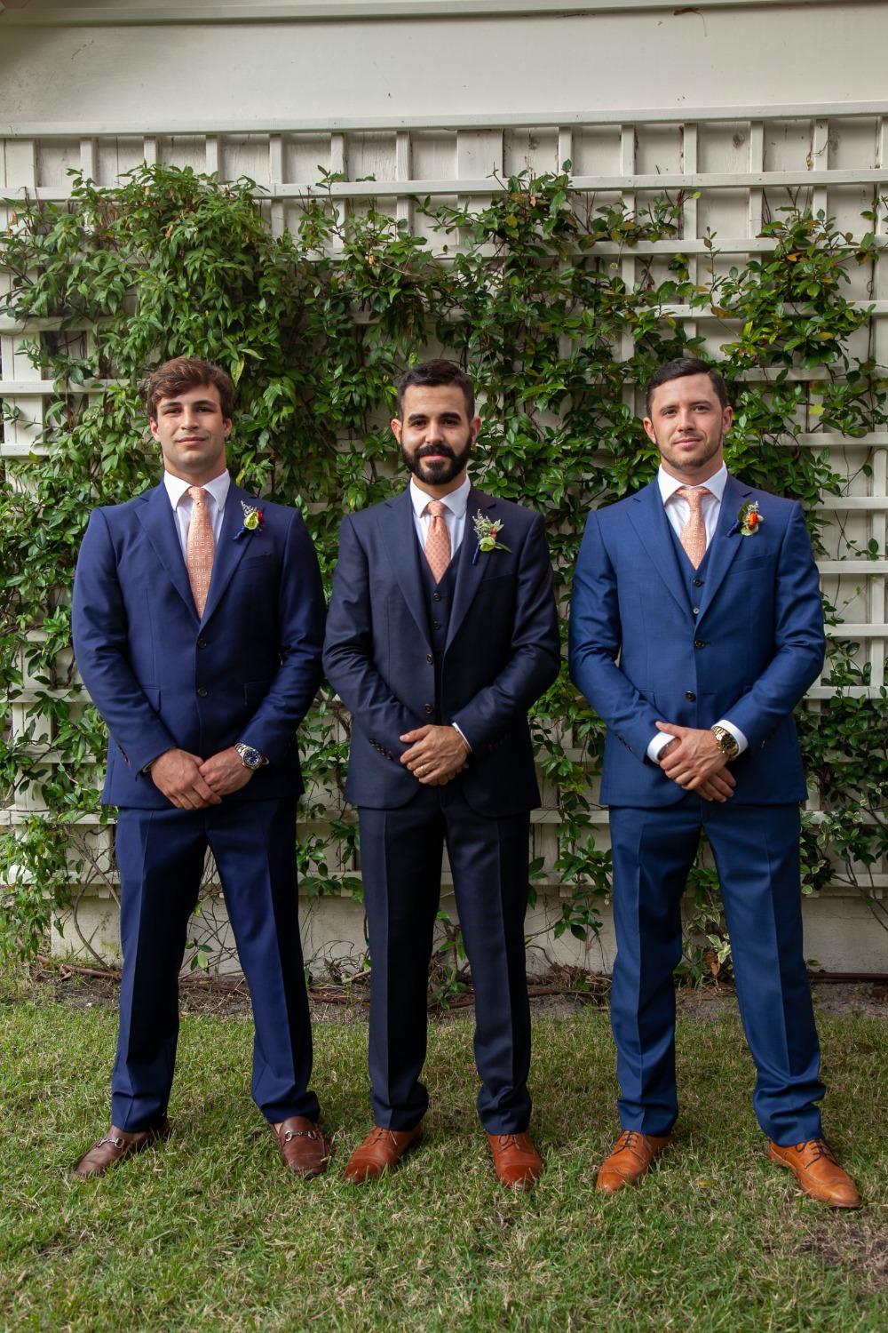 blue suit groom and groomsmen