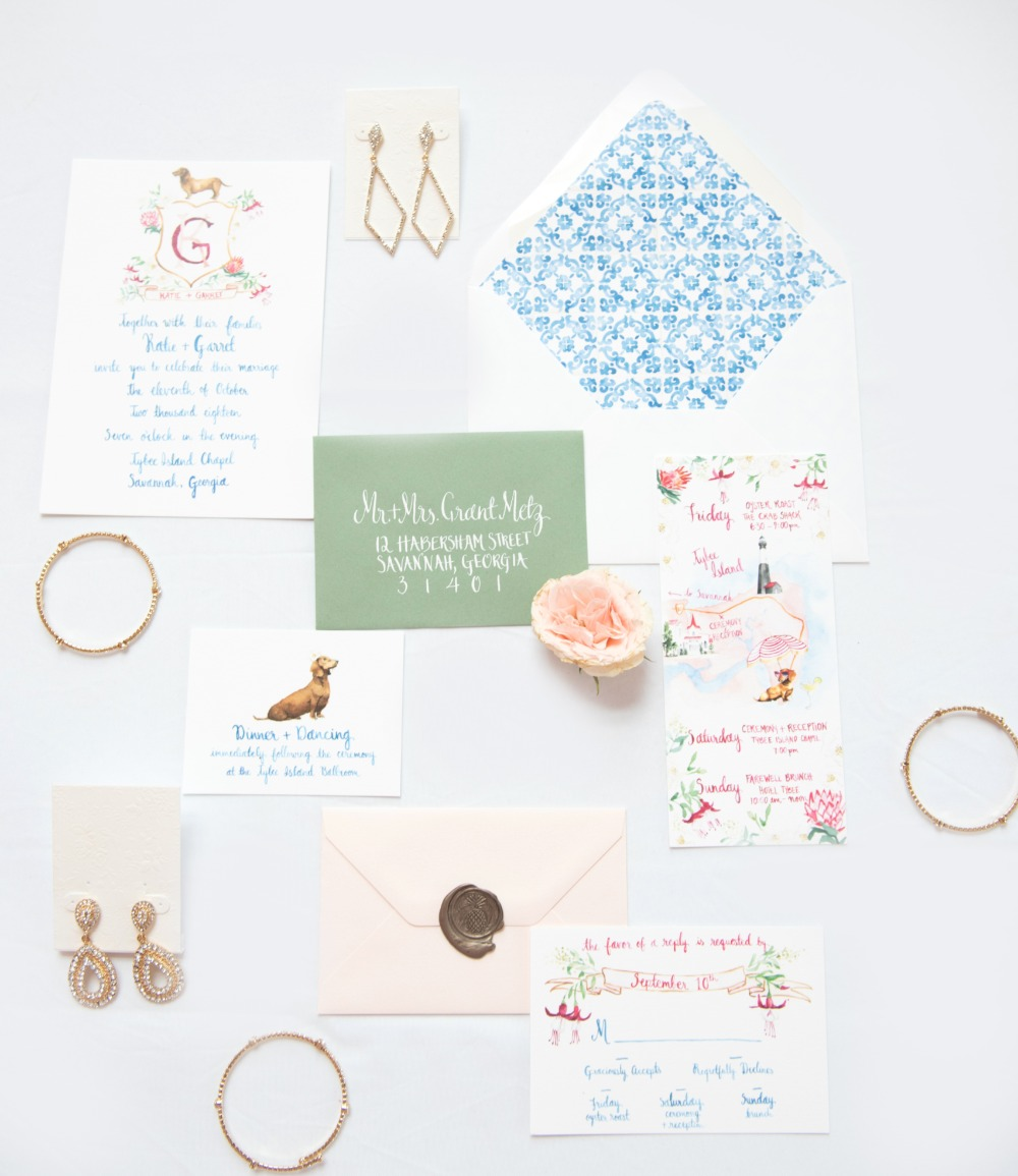 watercolor themed wedding invitation suite