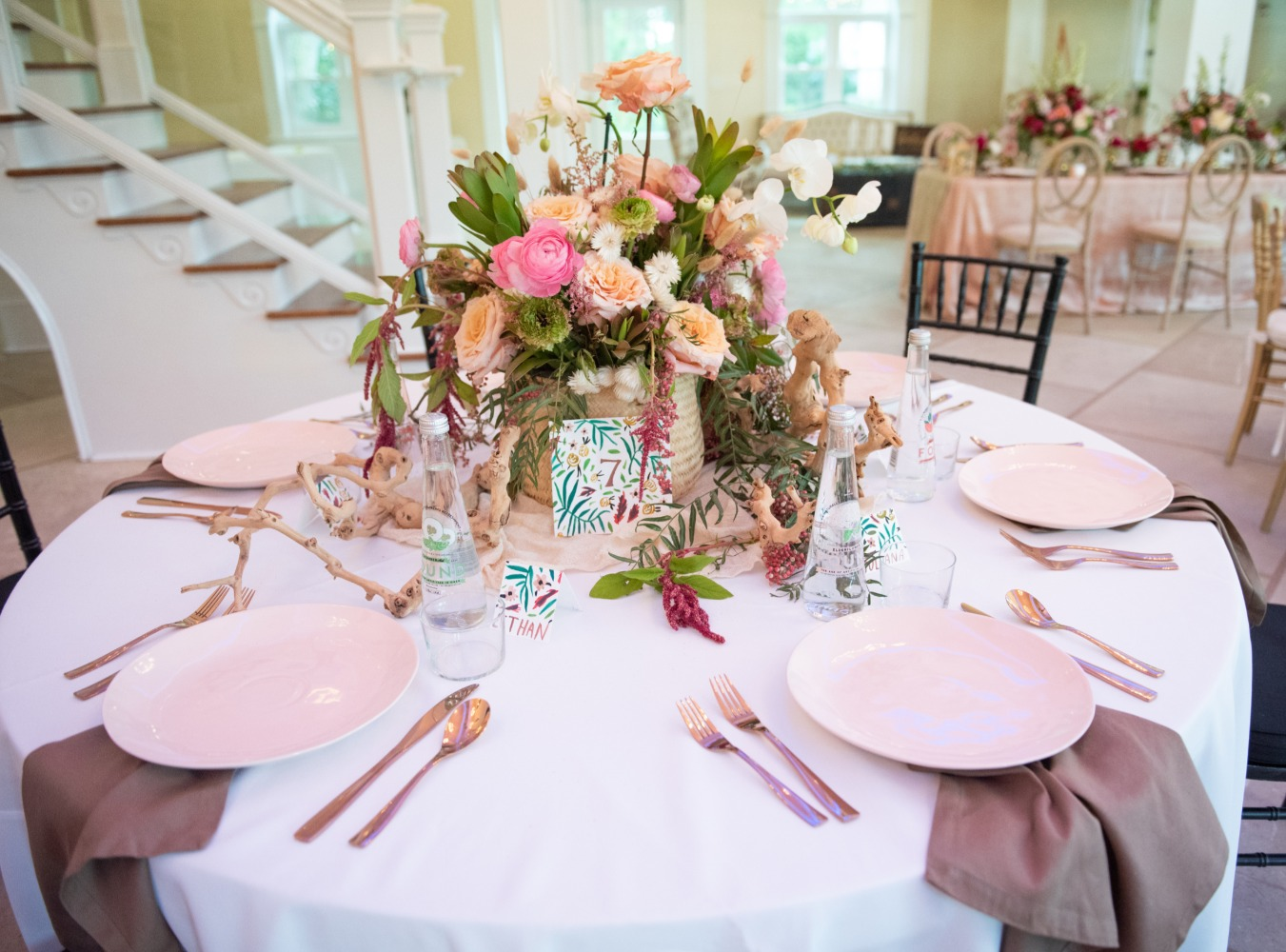 tropical beach themed wedding table