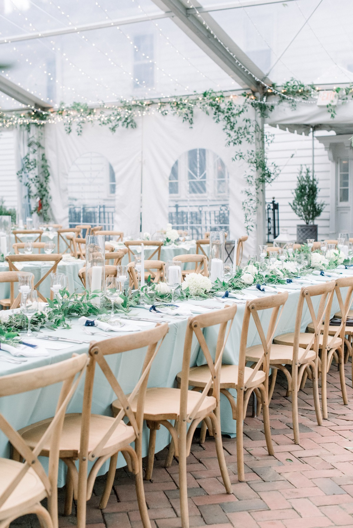 soft green and white wedding reception