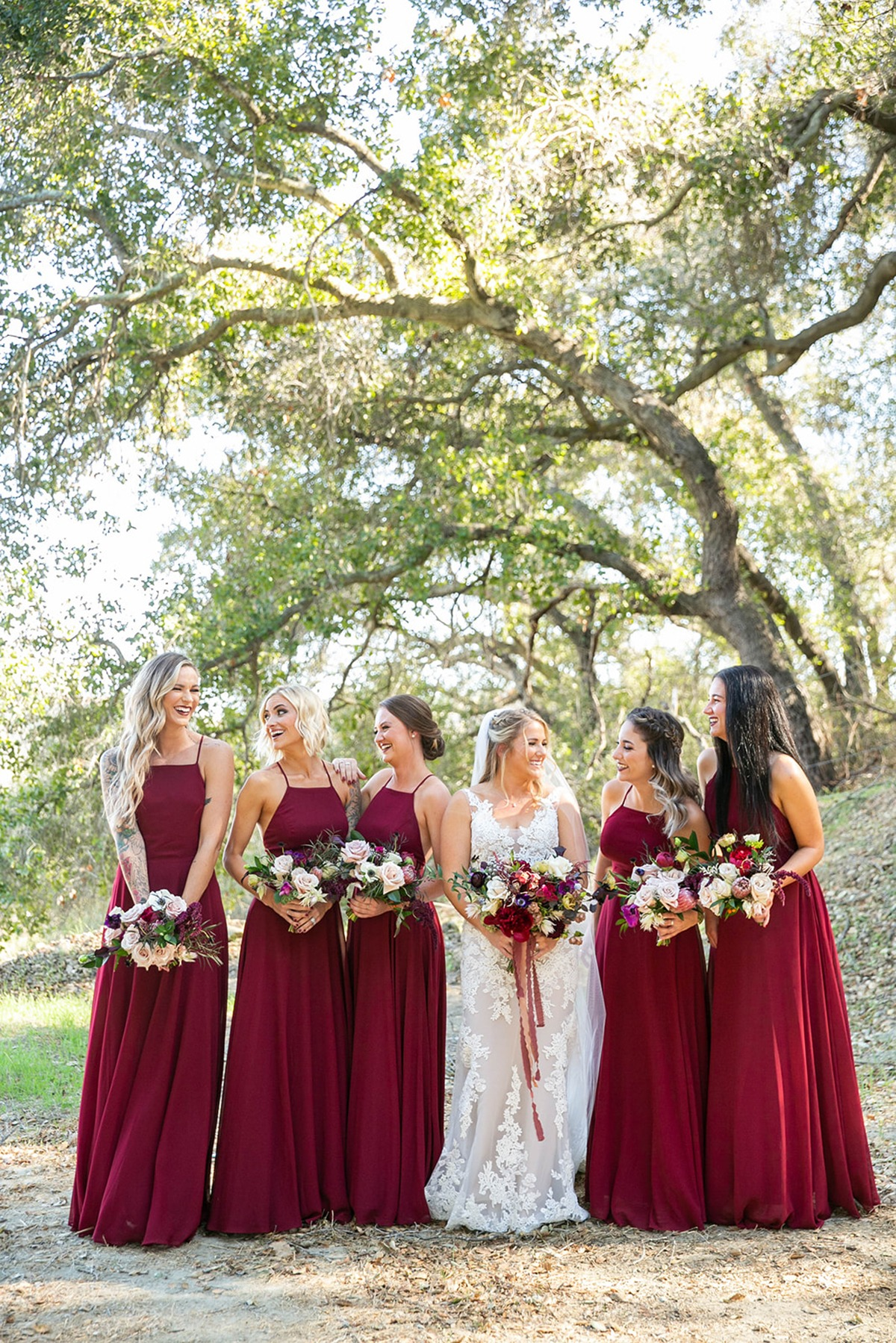 bridesmaids in deep burgundy