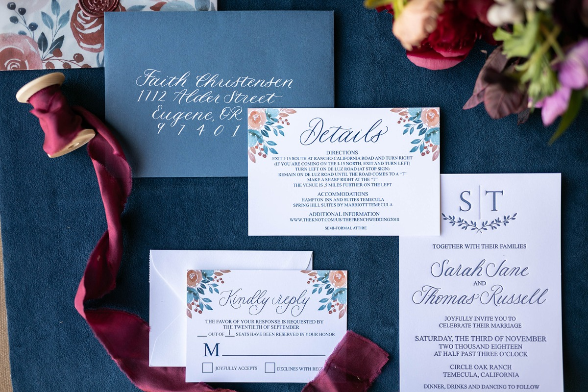 floral inspired wedding invitation suite