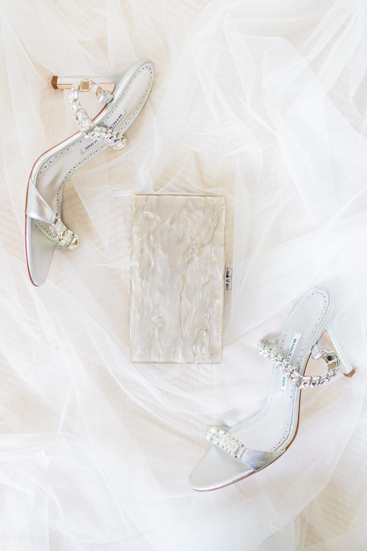 Wedding heels and clutch