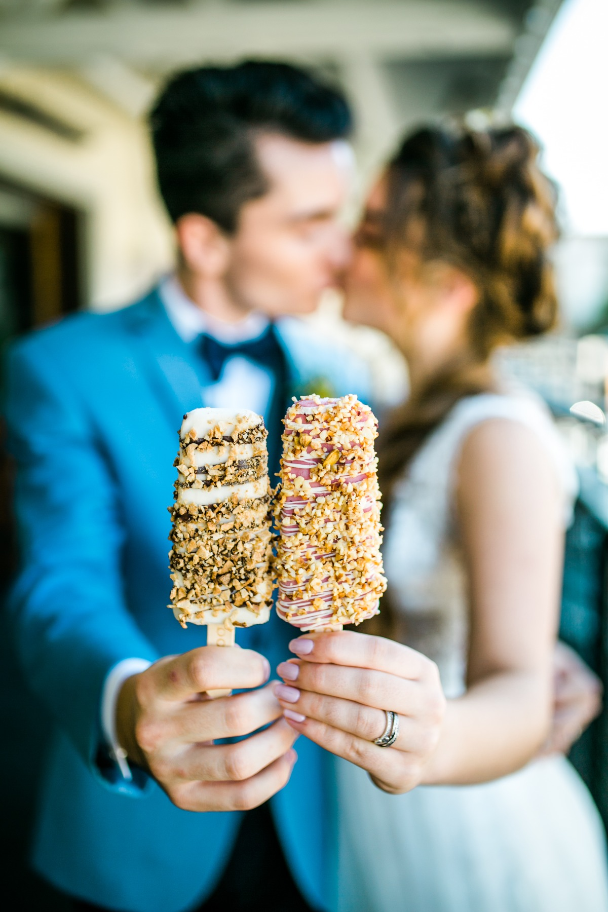 Bride and groom ice cream photo