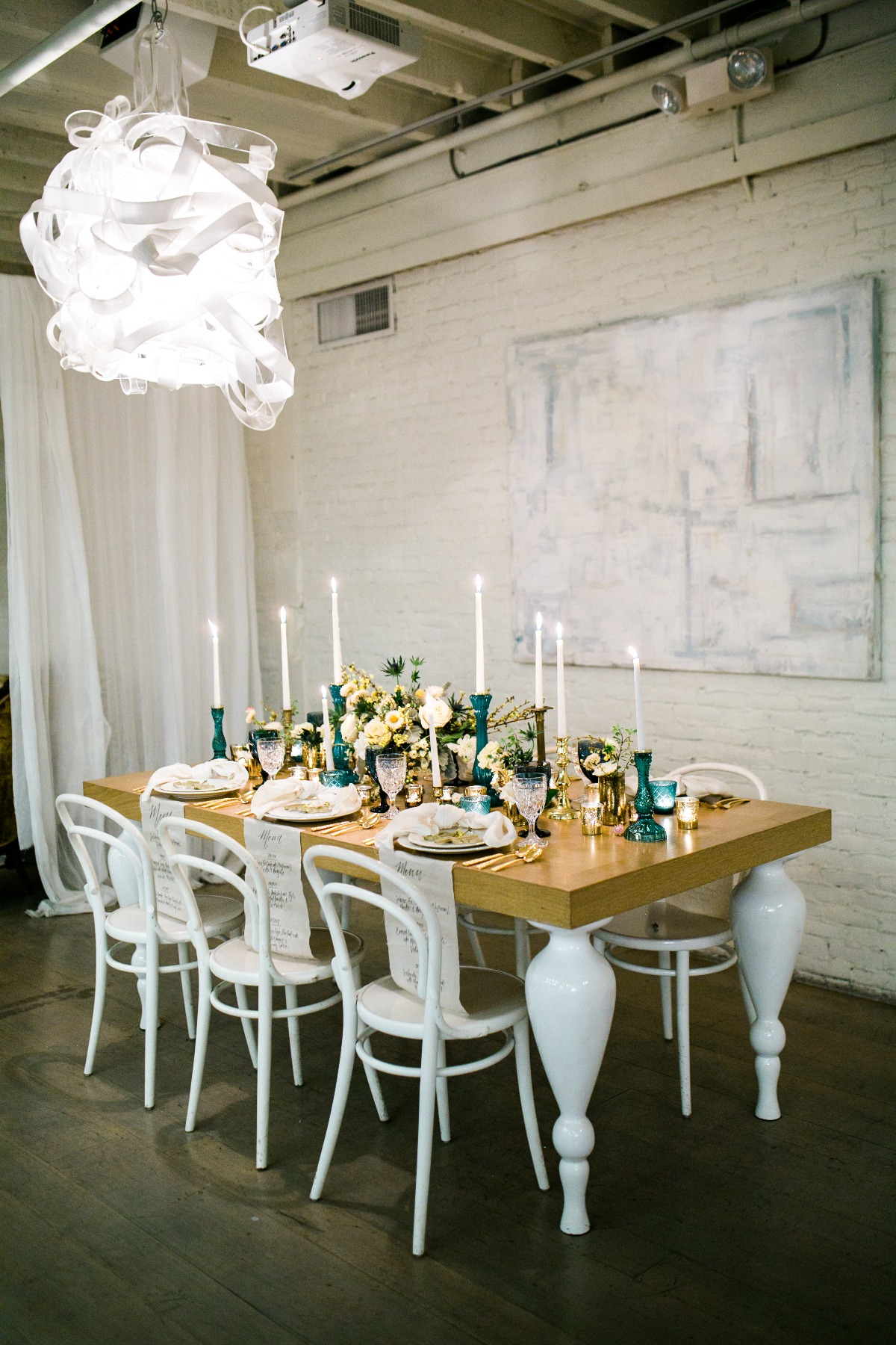 Chic blue and gold tablescape