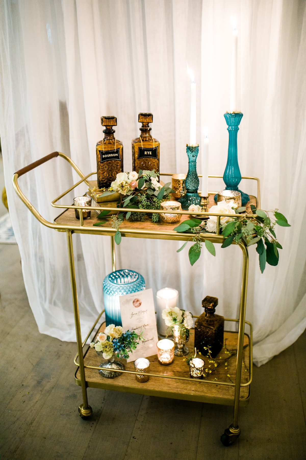 Vintage bar cart decor