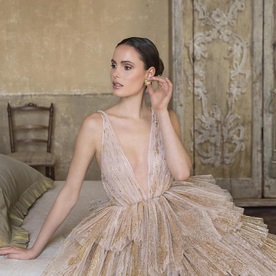 Gold and blush wedding gown by Peter Langner