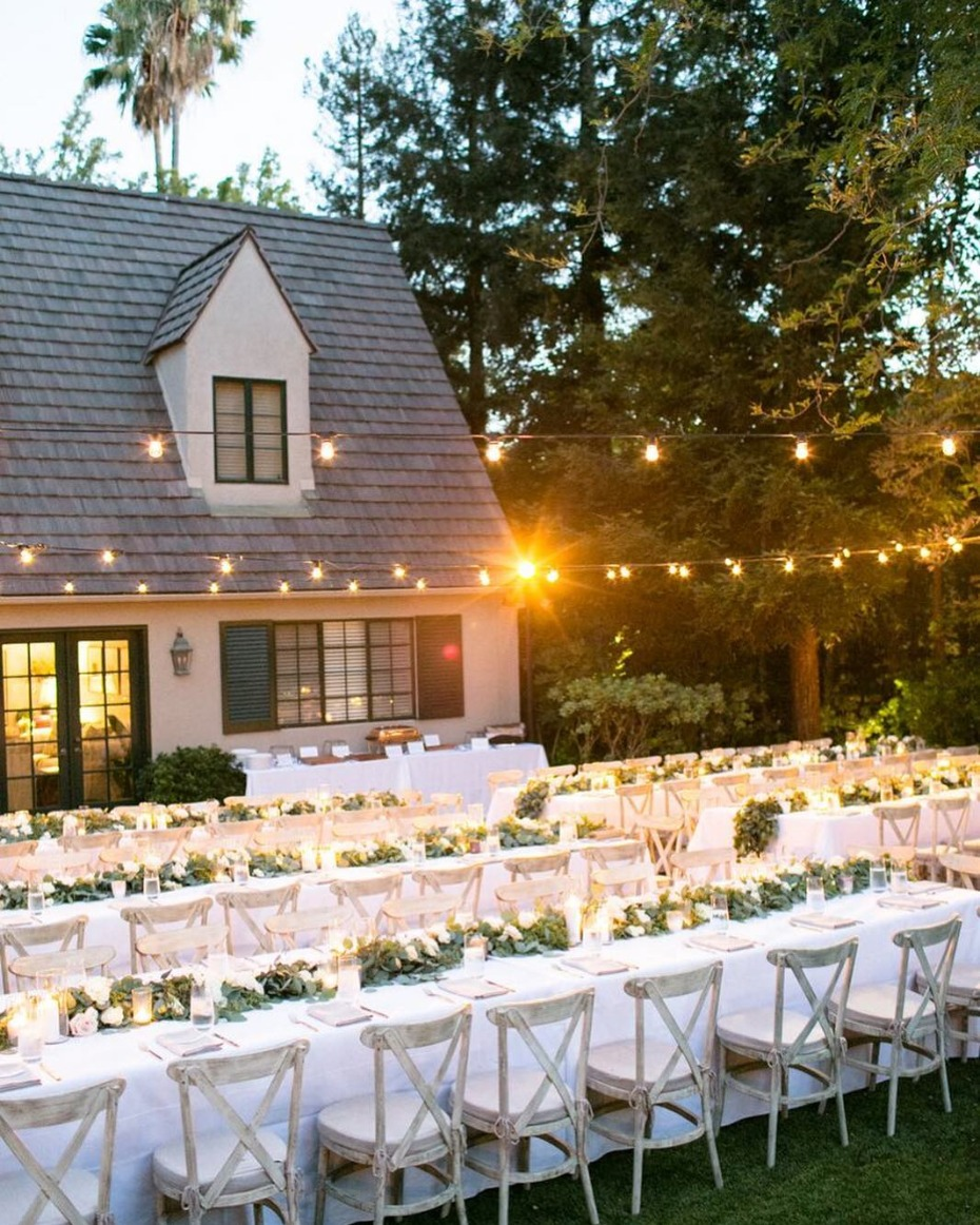 Backyard Wedding with String Lights