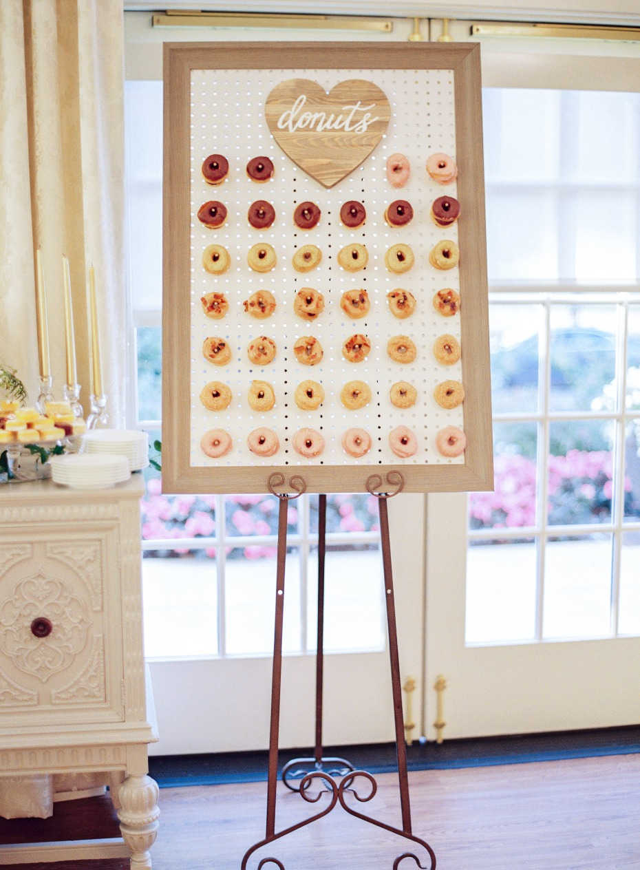 Donut wall at wedding reception