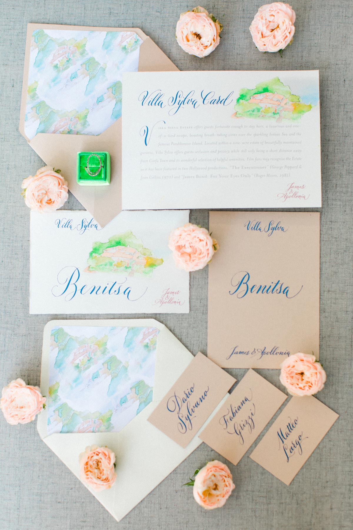 wedding invitation suite with whimsical watercolor accents