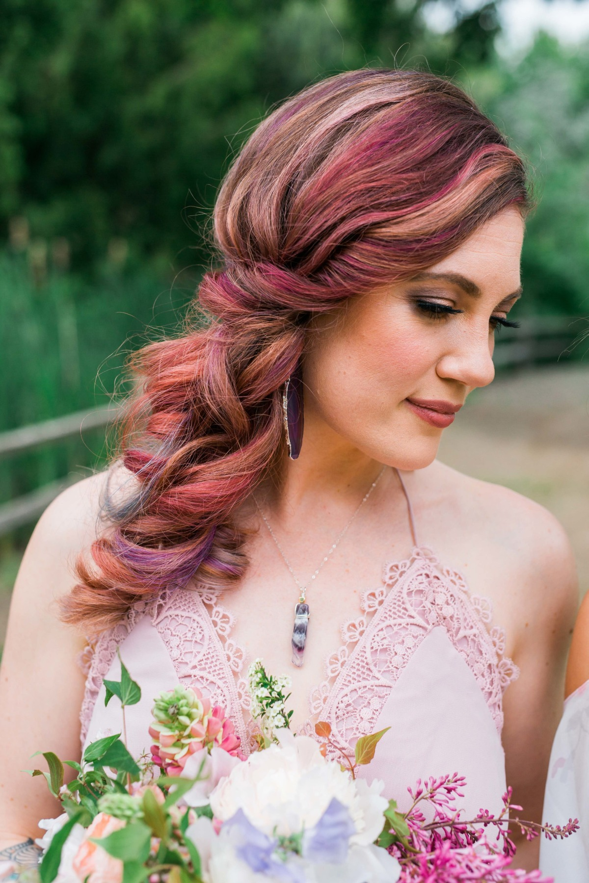Colored bridesmaid hair