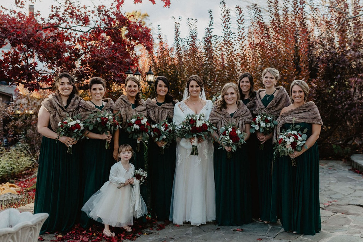 late fall bridal party