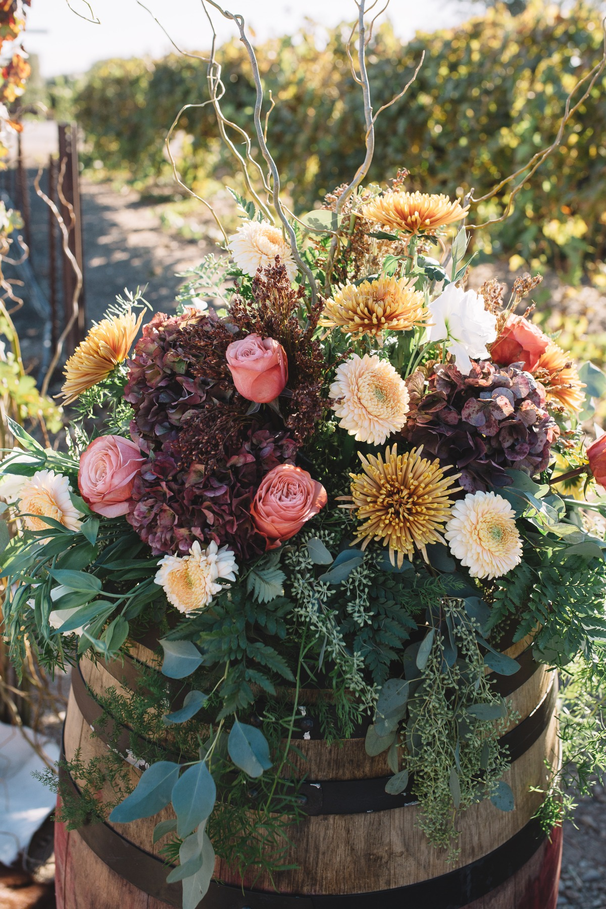 wine barrel floral decor