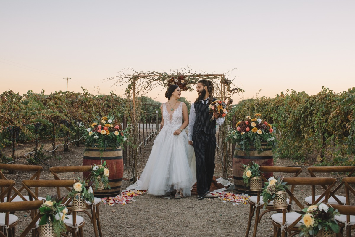 outdoor wedding ceremony in a vineyard