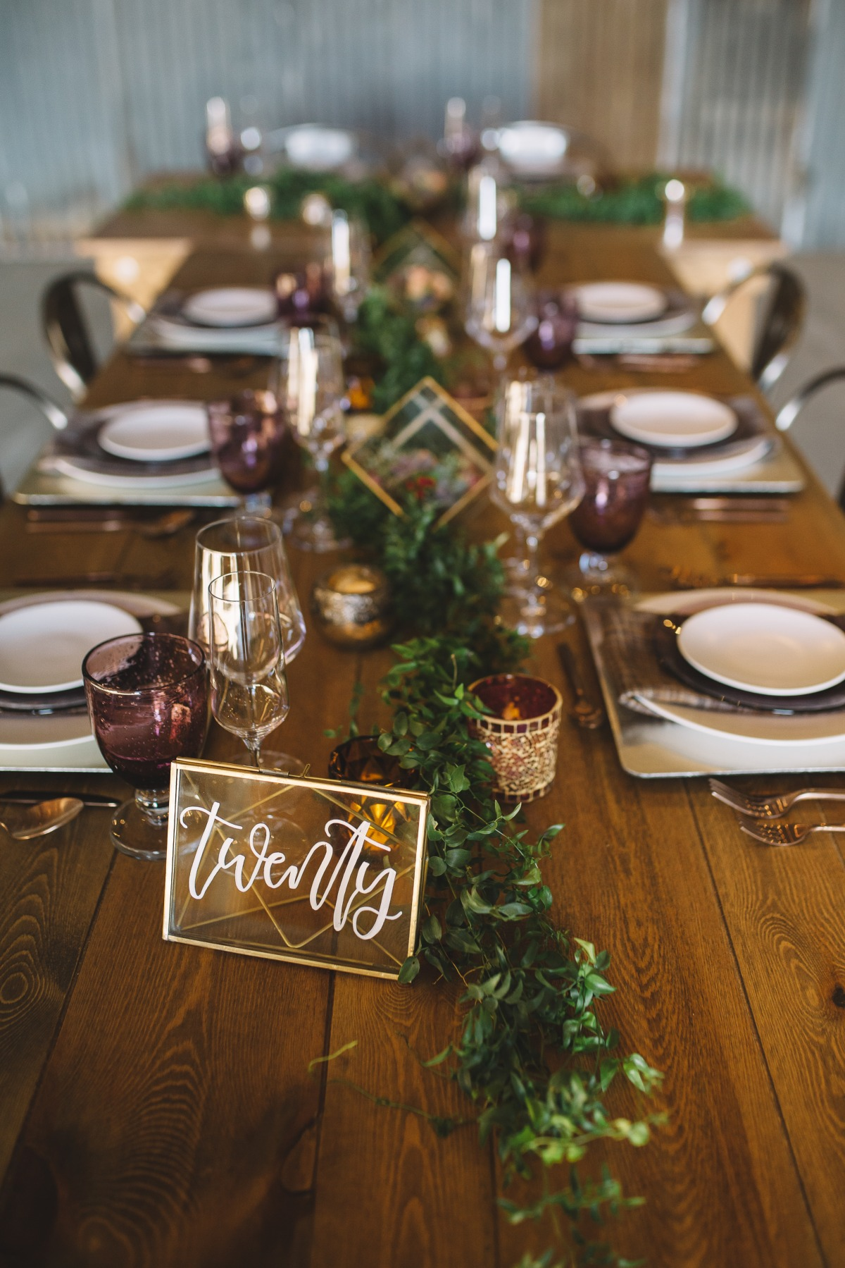fall wedding table decor with modern vibe