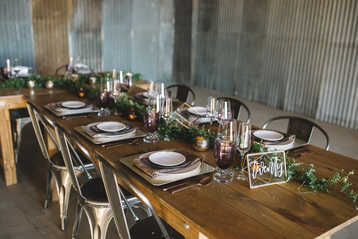 rustic chic wedding table with a modern vibe