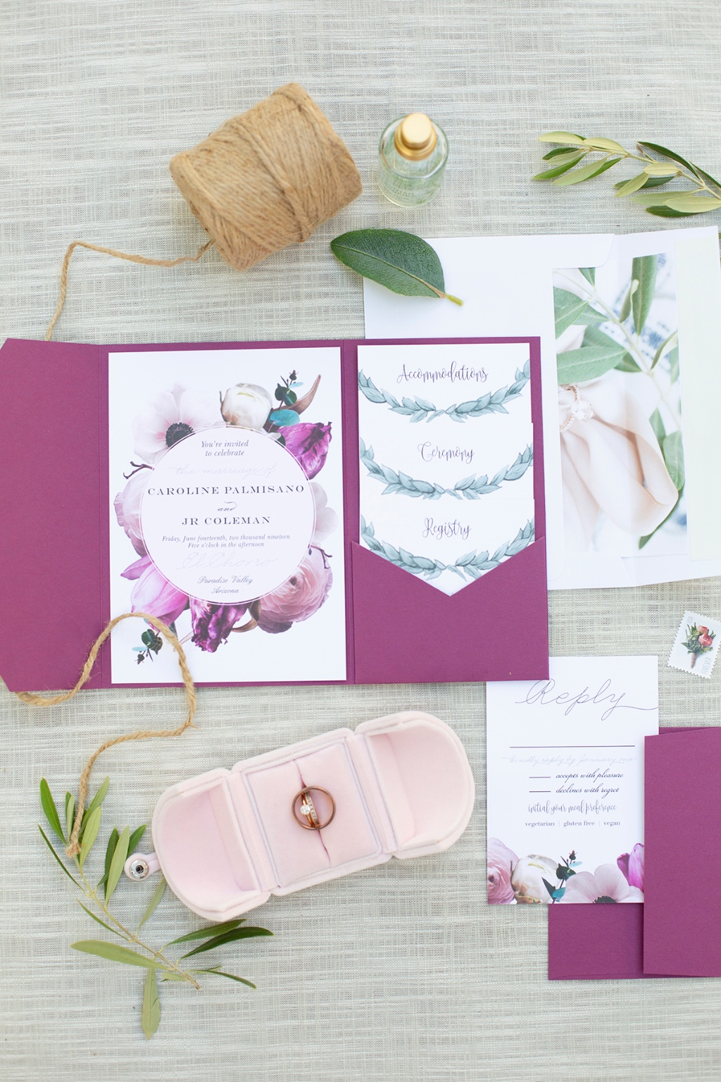 Combine multiple designs to create a truly unique wedding suite! Our Southern Romance Wedding Invitations paired with our Leafy Love