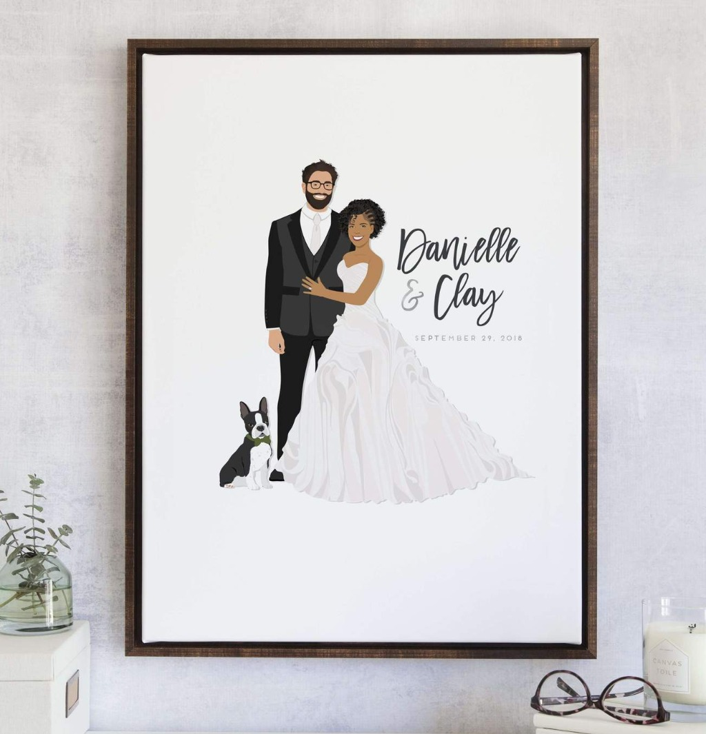 This wonderful Wedding Guest Book Alternative with Couple Portrait from Miss Design Berry features your beautiful couple portrait alongside