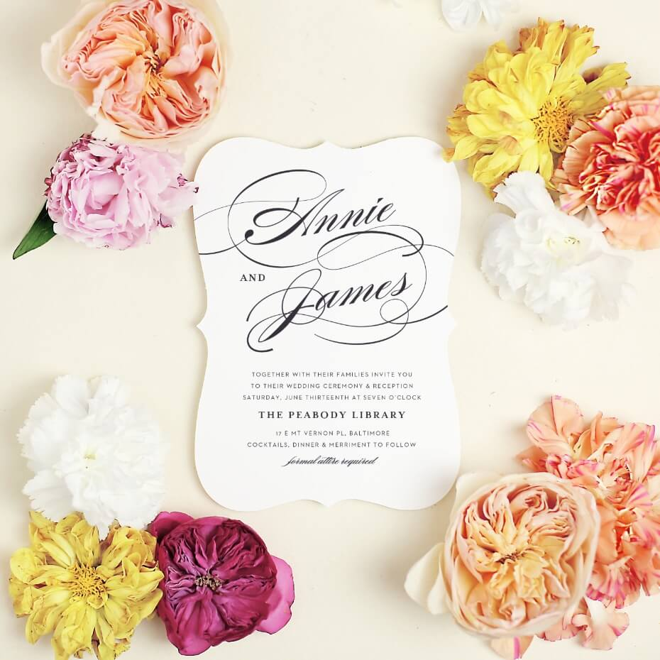 Basic invite catalog-copy with coral flower styling